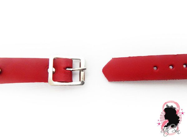 Red Studded Leather O Ring Wristband